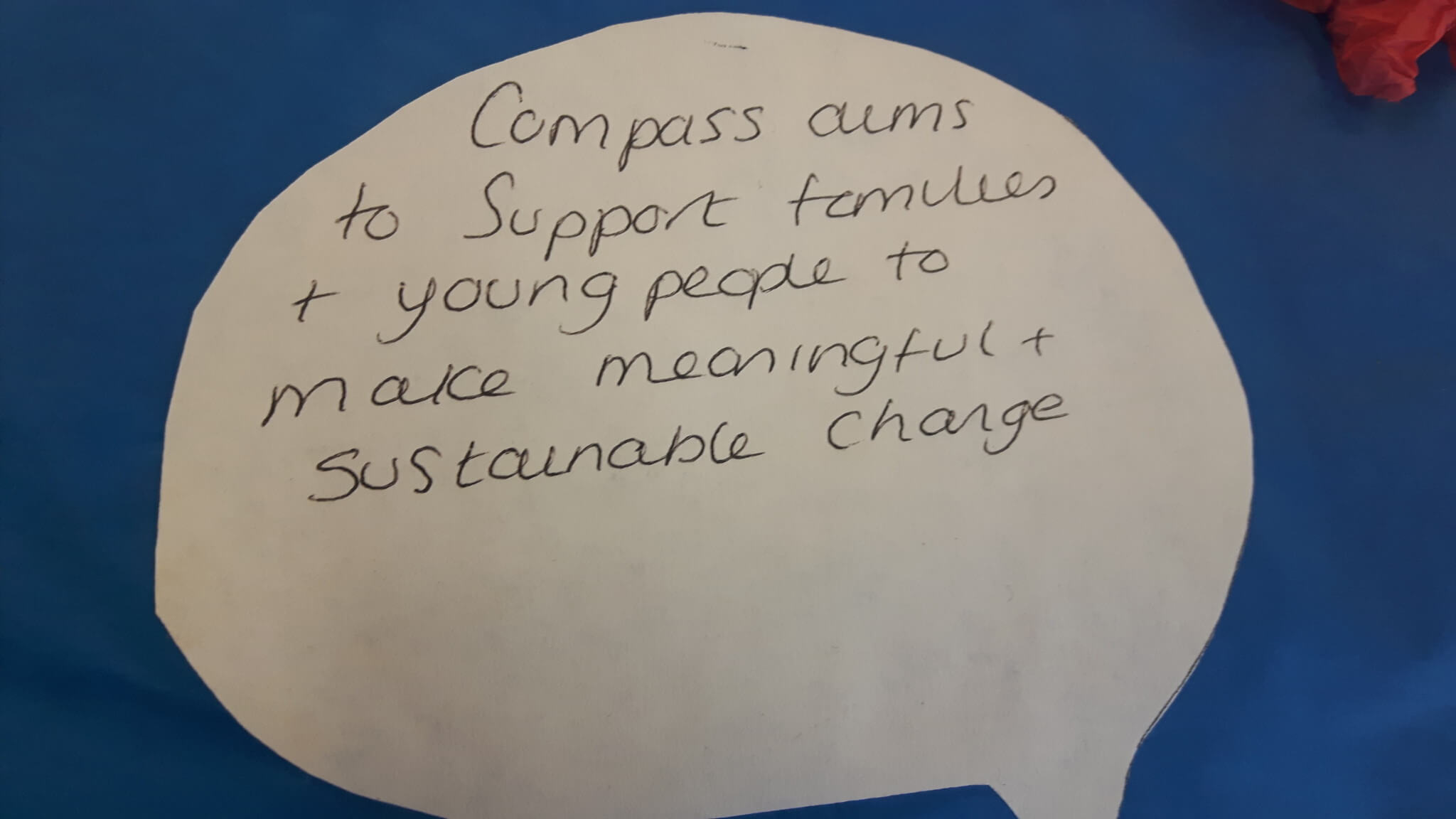 A quote about Compass supporting families to make meaningful and sustainable change