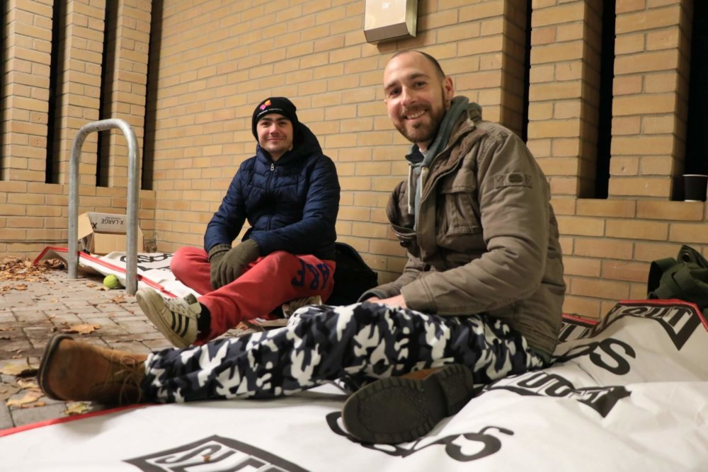 Two participants preparing for the night ahead at Ipswich Sleep Out 2018